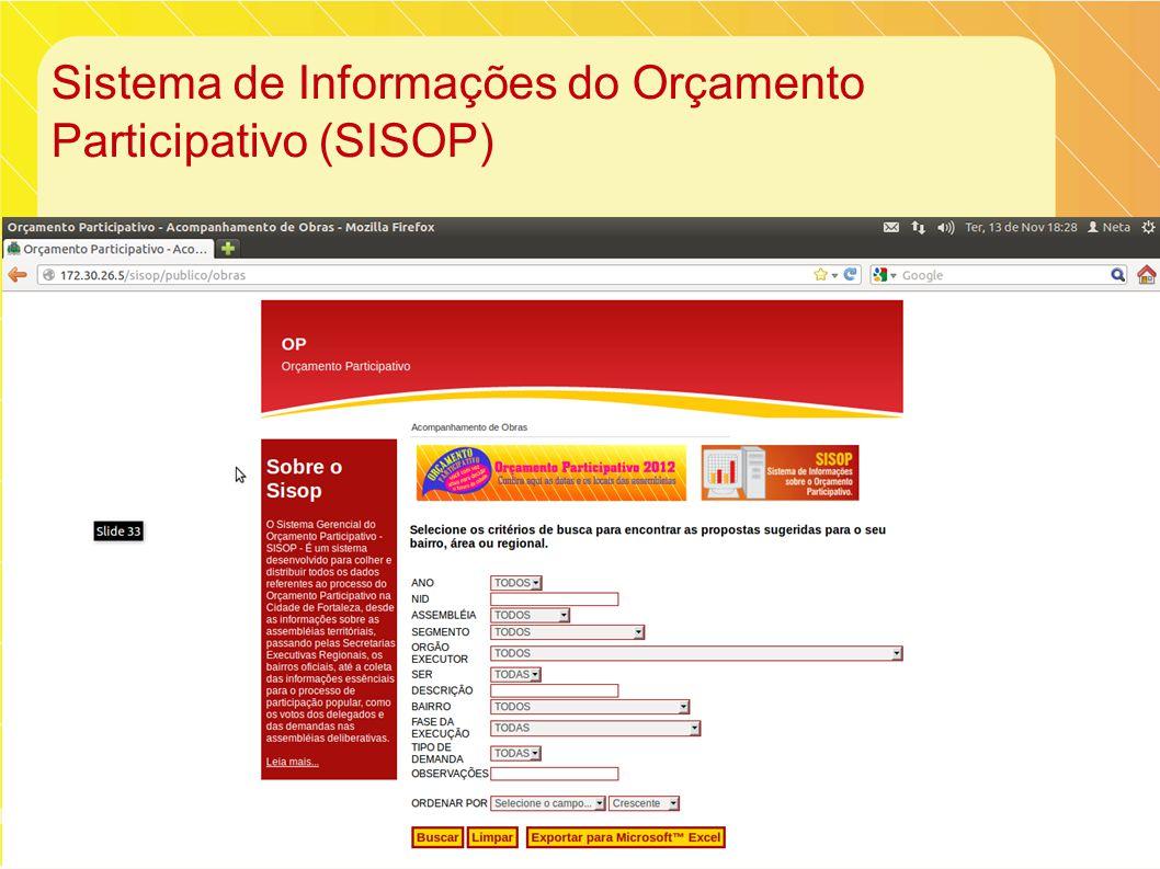 Sistema de Informações do Orçamento Participativo (SISOP)