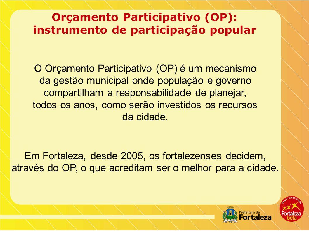 Orçamento Participativo (OP): instrumento de participação popular O Orçamento Participativo (OP) é um mecanismo da gestão municipal onde população e governo compartilham a responsabilidade de planejar, todos os anos, como serão investidos os recursos da cidade.