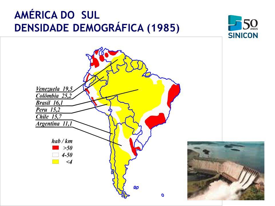 AMÉRICA DO SUL DENSIDADE DEMOGRÁFICA (1985)