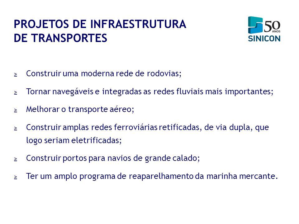 Construir uma moderna rede de rodovias; Tornar navegáveis e integradas as redes fluviais mais importantes; Melhorar o transporte aéreo; Construir ampl