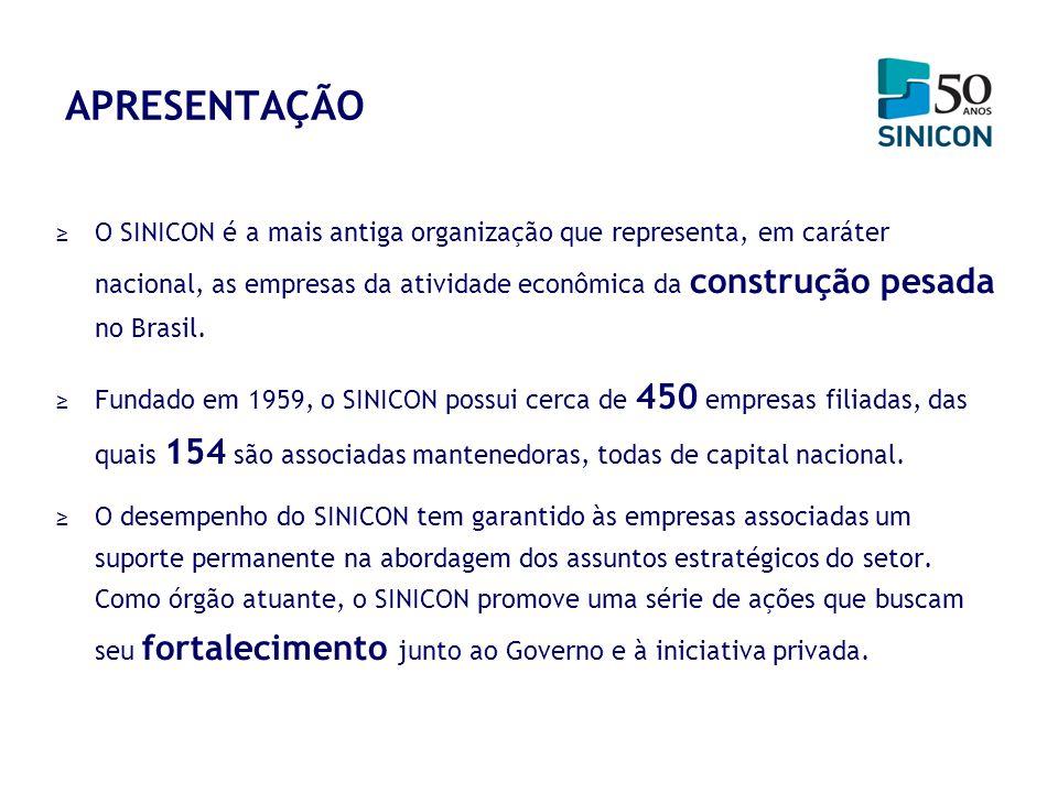 APRESENTAÇÃO O SINICON é a mais antiga organização que representa, em caráter nacional, as empresas da atividade econômica da construção pesada no Bra