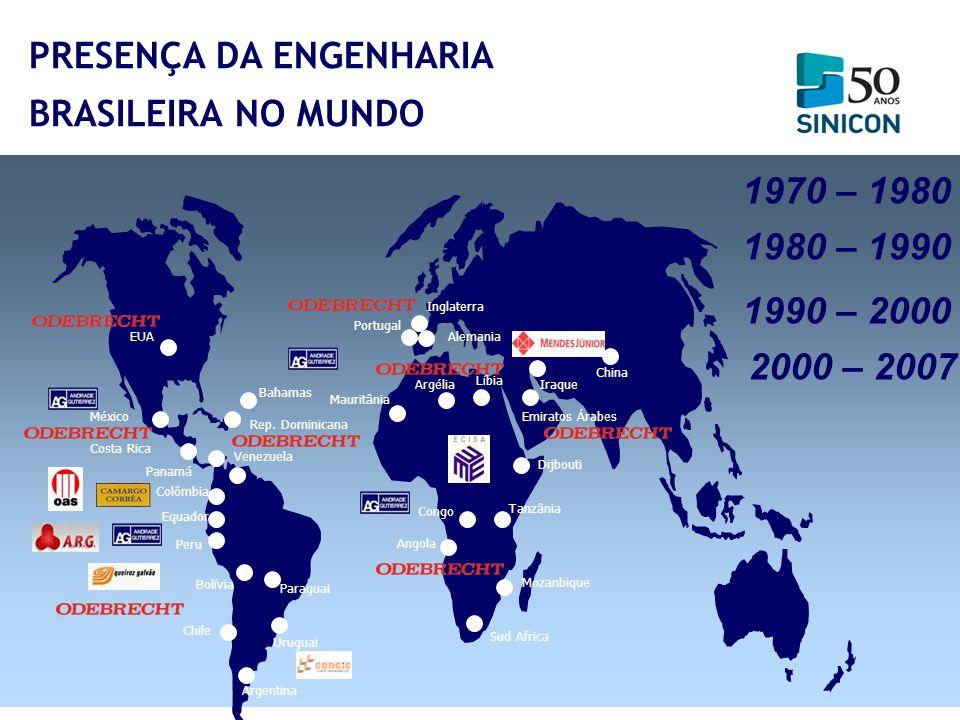 Argentina Uruguai Venezuela Chile Peru Equador Colômbia Bolívia México EUA Rep. Dominicana Portugal Costa Rica Argélia Iraque Mauritânia Tanzânia Chin