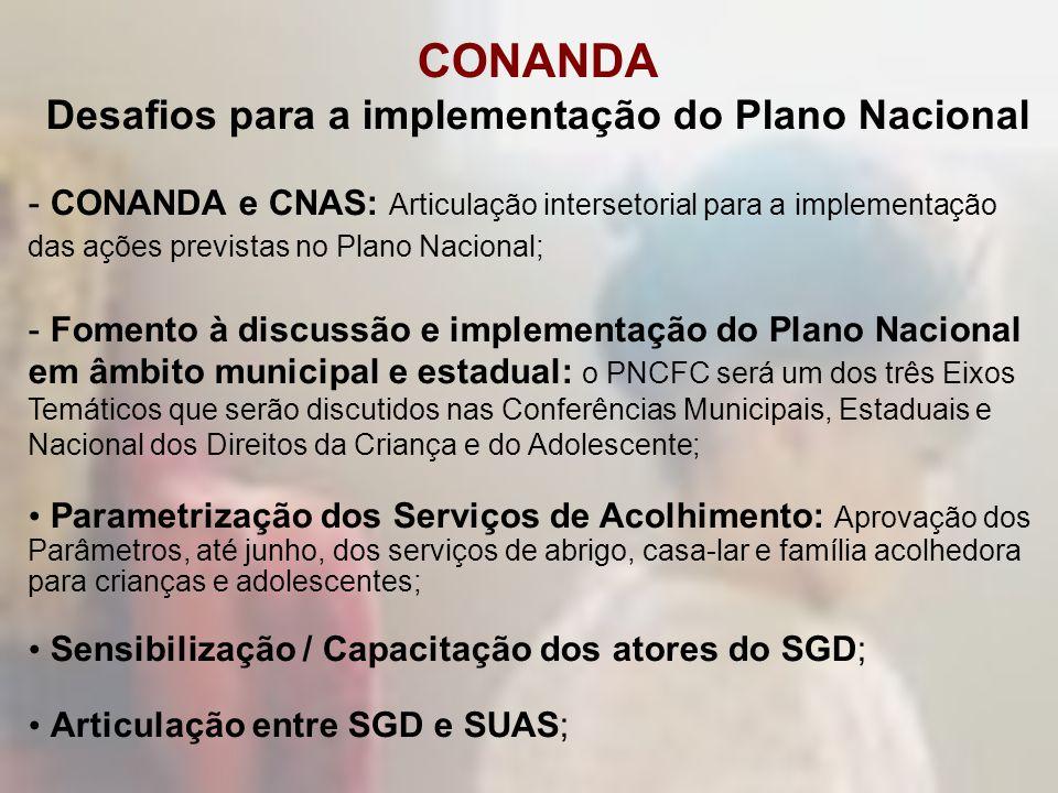 CONANDA Desafios para a implementação do Plano Nacional - CONANDA e CNAS: Articulação intersetorial para a implementação das ações previstas no Plano