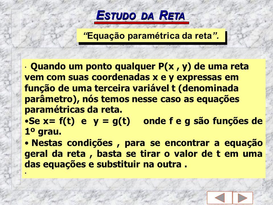 E STUDO DA R ETA Quando um ponto qualquer P(x, y) de uma reta vem com suas coordenadas x e y expressas em função de uma terceira variável t (denominada parâmetro), nós temos nesse caso as equações paramétricas da reta.