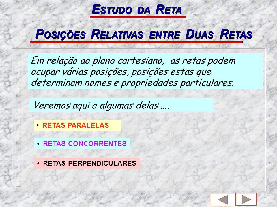 P OSIÇÕES R ELATIVAS ENTRE D UAS R ETAS E STUDO DA R ETA Em relação ao plano cartesiano, as retas podem ocupar várias posições, posições estas que determinam nomes e propriedades particulares.