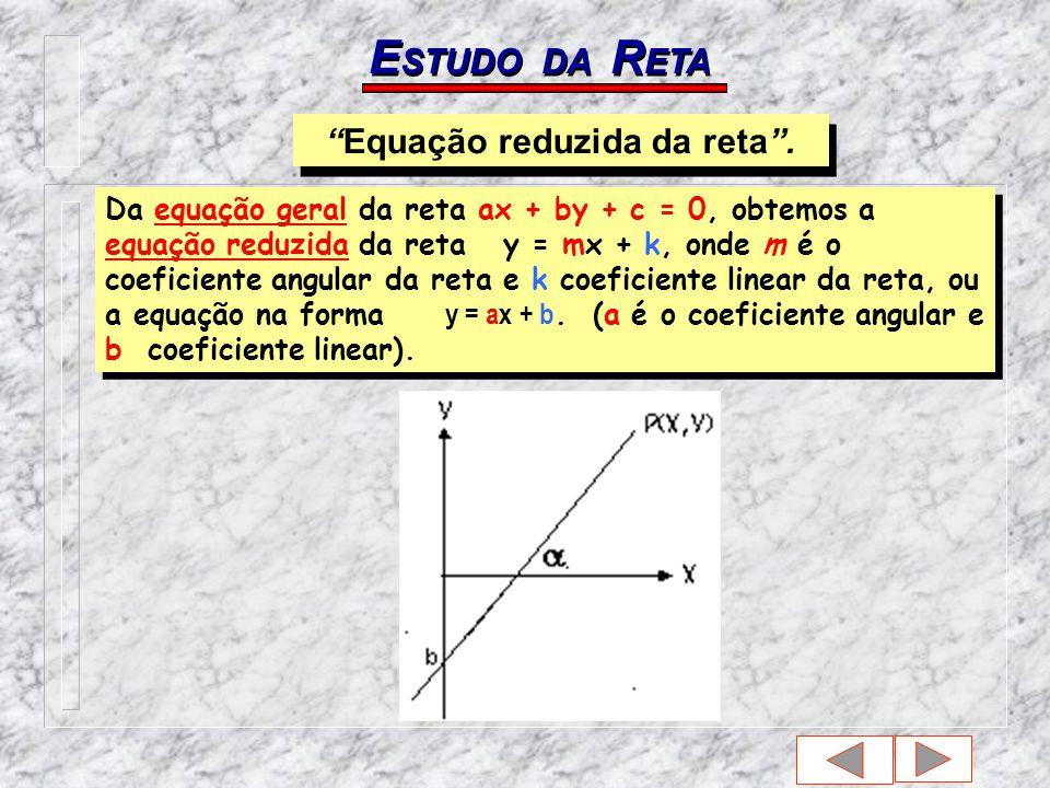 E STUDO DA R ETA Da equação geral da reta ax + by + c = 0, obtemos a equação reduzida da reta y = mx + k, onde m é o coeficiente angular da reta e k coeficiente linear da reta, ou a equação na forma y = ax + b.