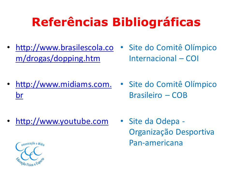 Referências Bibliográficas http://www.brasilescola.co m/drogas/dopping.htm http://www.brasilescola.co m/drogas/dopping.htm http://www.midiams.com. br