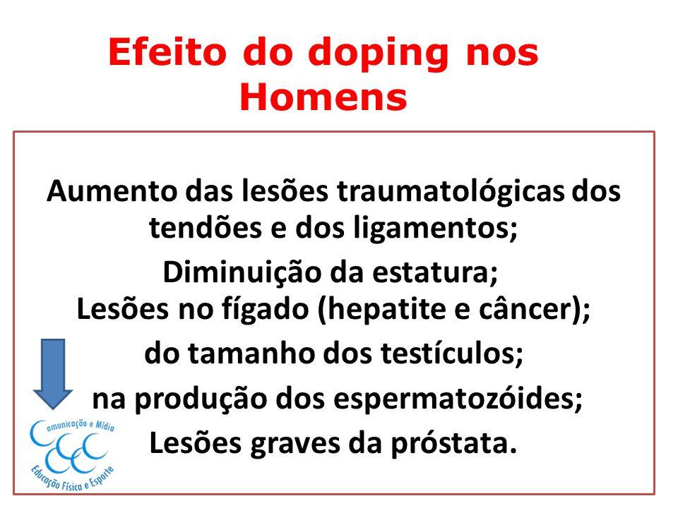 Efeito do doping nos Homens Aumento das lesões traumatológicas dos tendões e dos ligamentos; Diminuição da estatura; Lesões no fígado (hepatite e cânc