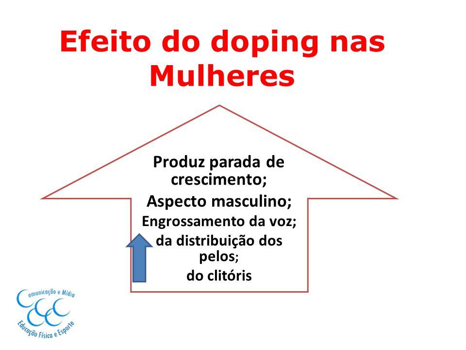 Efeito do doping nas Mulheres Produz parada de crescimento; Aspecto masculino; Engrossamento da voz; da distribuição dos pelos ; do clitóris