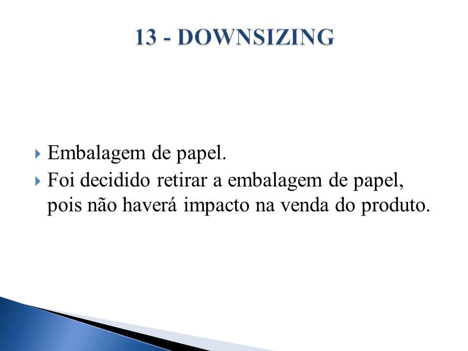 Embalagem de papel. Foi decidido retirar a embalagem de papel, pois não haverá impacto na venda do produto.