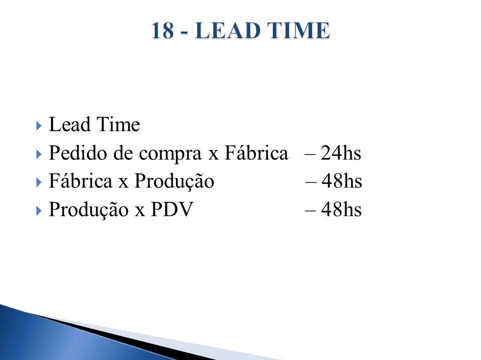 Lead Time Pedido de compra x Fábrica – 24hs Fábrica x Produção – 48hs Produção x PDV – 48hs