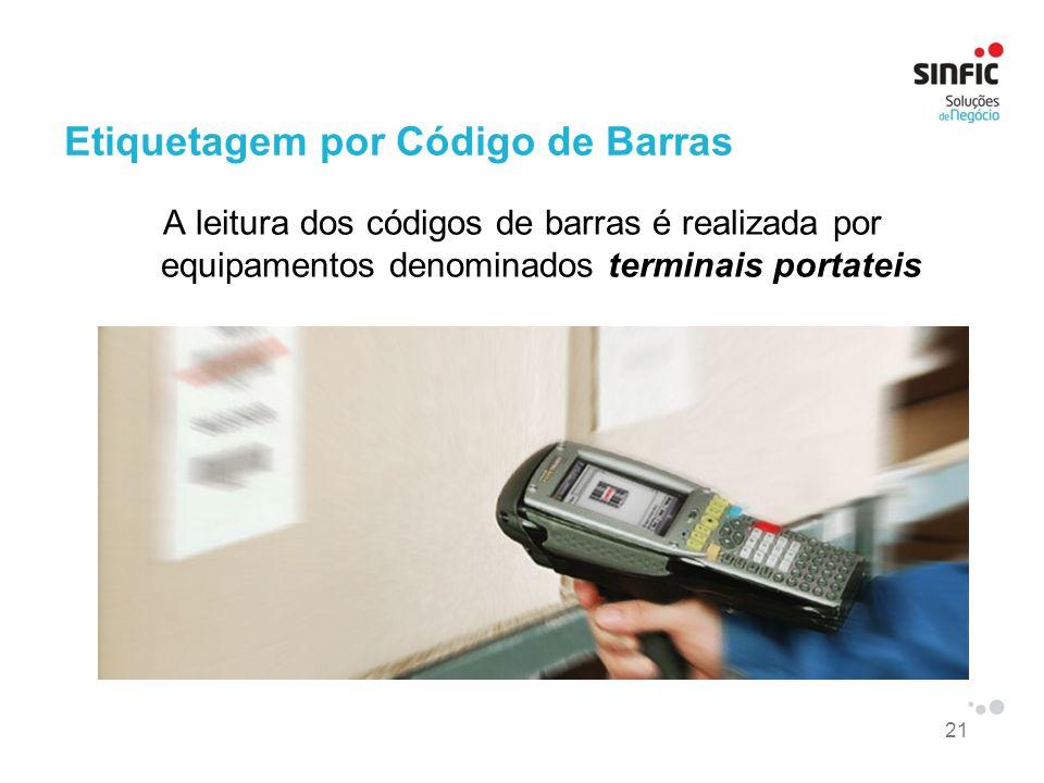 21 Etiquetagem por Código de Barras A leitura dos códigos de barras é realizada por equipamentos denominados terminais portateis