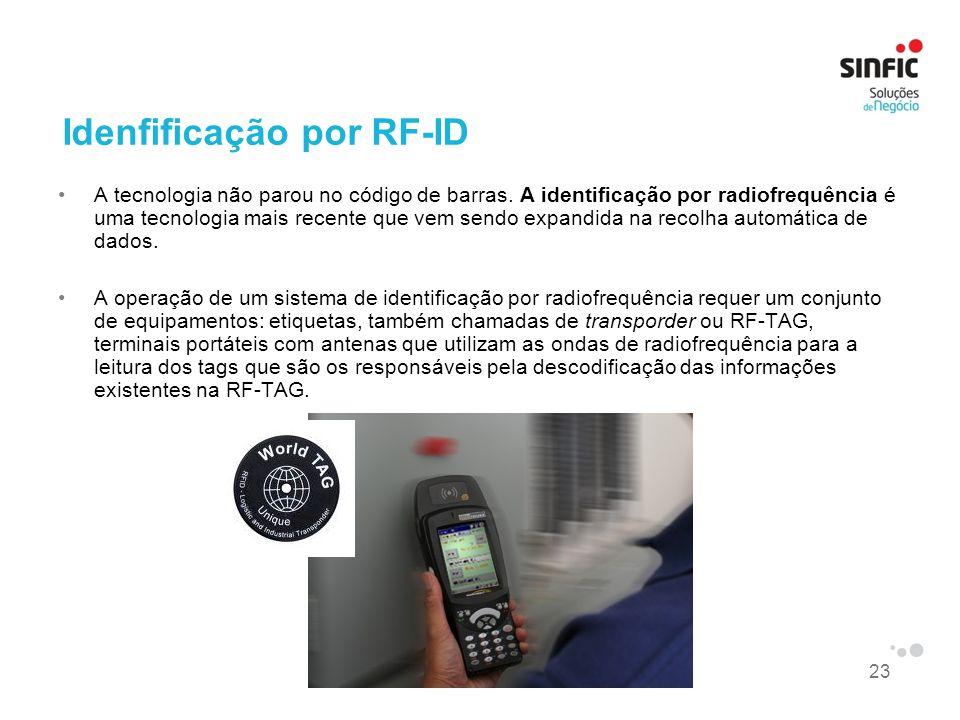 23 Idenfificação por RF-ID A tecnologia não parou no código de barras. A identificação por radiofrequência é uma tecnologia mais recente que vem sendo