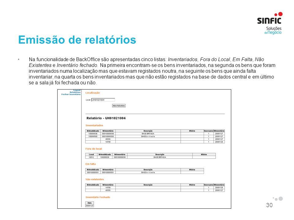30 Emissão de relatórios Na funcionalidade de BackOffice são apresentadas cinco listas: Inventariados, Fora do Local, Em Falta, Não Existentes e Inven