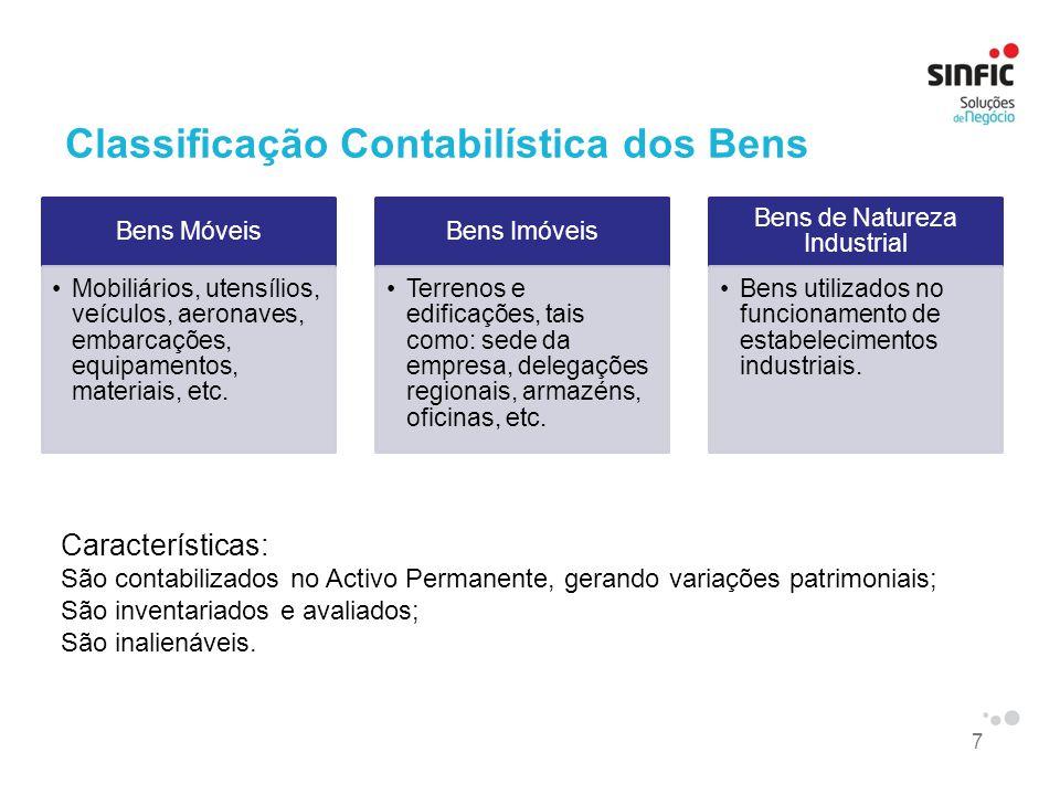7 Classificação Contabilística dos Bens Bens Móveis Mobiliários, utensílios, veículos, aeronaves, embarcações, equipamentos, materiais, etc. Bens Imóv