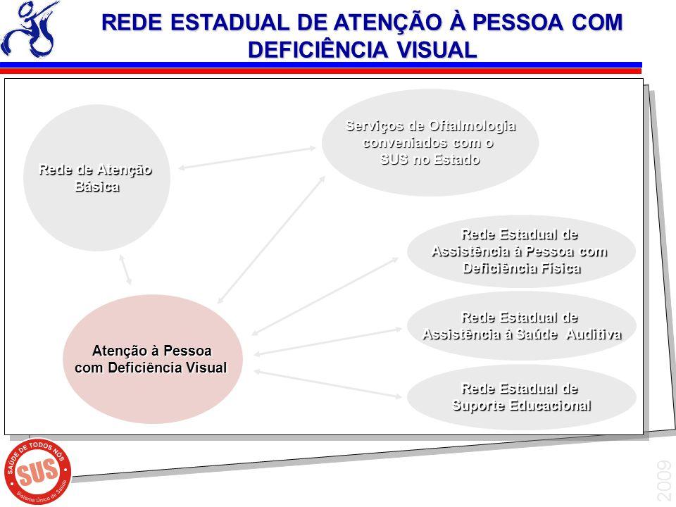 2009 Atenção à Pessoa Atenção à Pessoa com Deficiência Visual com Deficiência Visual Rede de Atenção Básica Rede Estadual de Assistência à Pessoa com