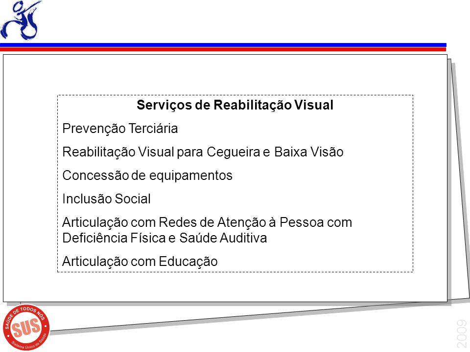 2009 Serviços de Reabilitação Visual Prevenção Terciária Reabilitação Visual para Cegueira e Baixa Visão Concessão de equipamentos Inclusão Social Art