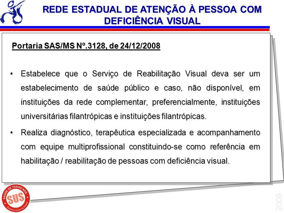 2009 Portaria SAS/MS Nº.3128, de 24/12/2008 Portaria SAS/MS Nº.3128, de 24/12/2008 Estabelece que o Serviço de Reabilitação Visual deva ser um estabel