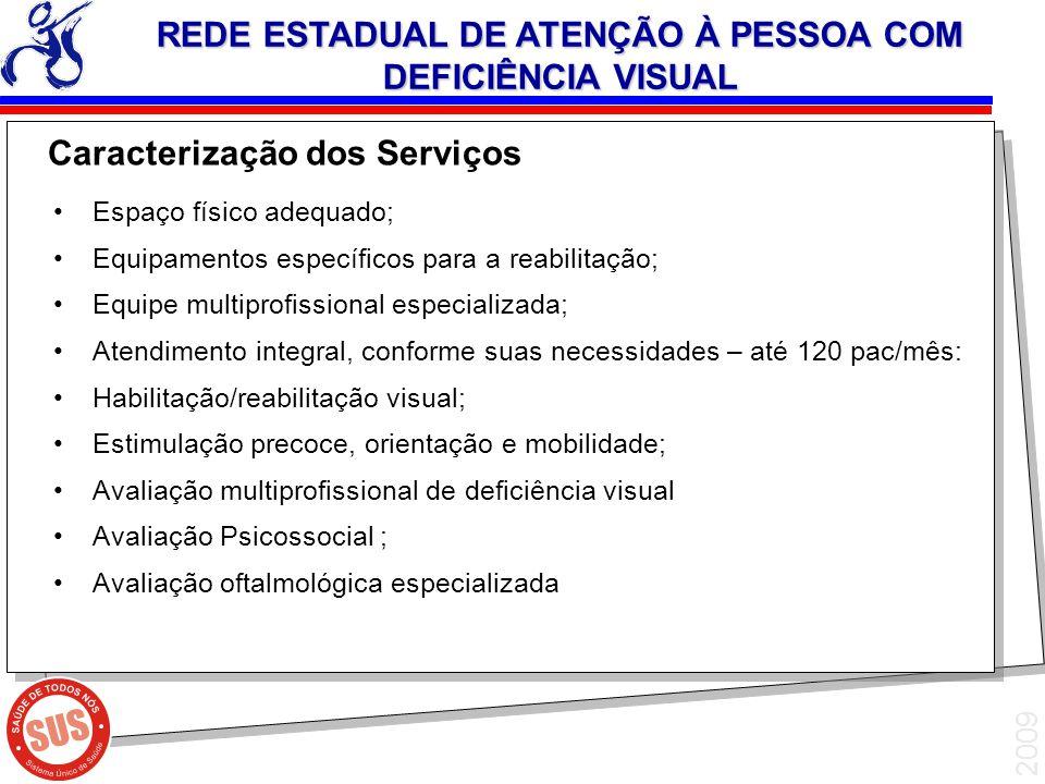 2009 Espaço físico adequado; Equipamentos específicos para a reabilitação; Equipe multiprofissional especializada; Atendimento integral, conforme suas