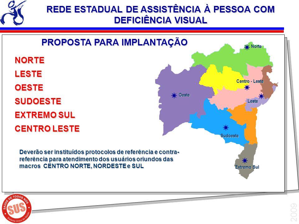 2009 NORTELESTEOESTESUDOESTE EXTREMO SUL CENTRO LESTE Leste Sudoeste REDE ESTADUAL DE ASSISTÊNCIA À PESSOA COM DEFICIÊNCIA VISUAL Centro - Leste Norte