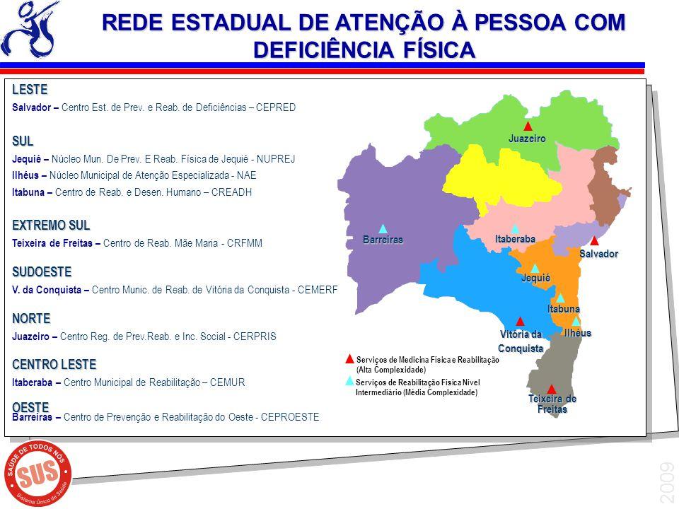 2009 LESTE Salvador – Centro Est. de Prev. e Reab. de Deficiências – CEPREDSUL Jequié – Núcleo Mun. De Prev. E Reab. Física de Jequié - NUPREJ Ilhéus