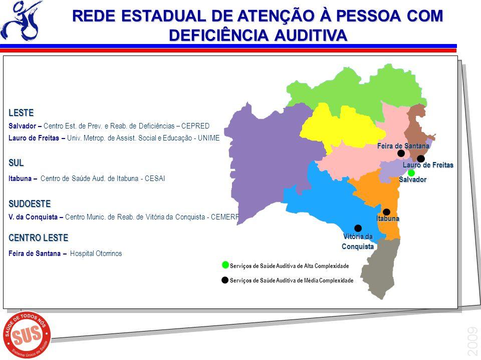 2009 LESTE Salvador – Centro Est. de Prev. e Reab. de Deficiências – CEPRED Lauro de Freitas – Univ. Metrop. de Assist. Social e Educação - UNIMESUL I