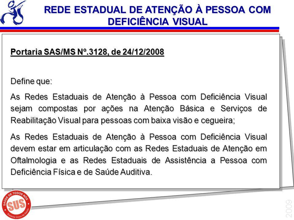 2009 Portaria SAS/MS Nº.3128, de 24/12/2008 Define que: As Redes Estaduais de Atenção à Pessoa com Deficiência Visual sejam compostas por ações na Ate