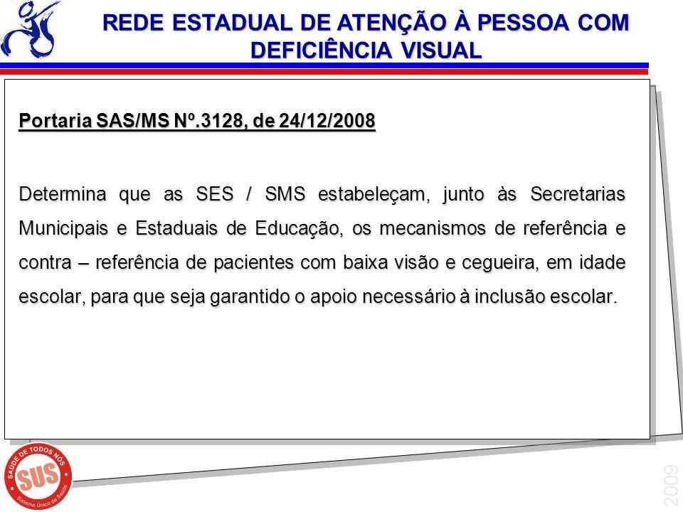 2009 Portaria SAS/MS Nº.3128, de 24/12/2008 Determina que as SES / SMS estabeleçam, junto às Secretarias Municipais e Estaduais de Educação, os mecani