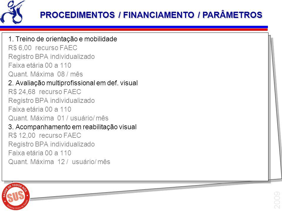 2009 1. Treino de orientação e mobilidade R$ 6,00 recurso FAEC Registro BPA individualizado Faixa etária 00 a 110 Quant. Máxima 08 / mês 2. Avaliação