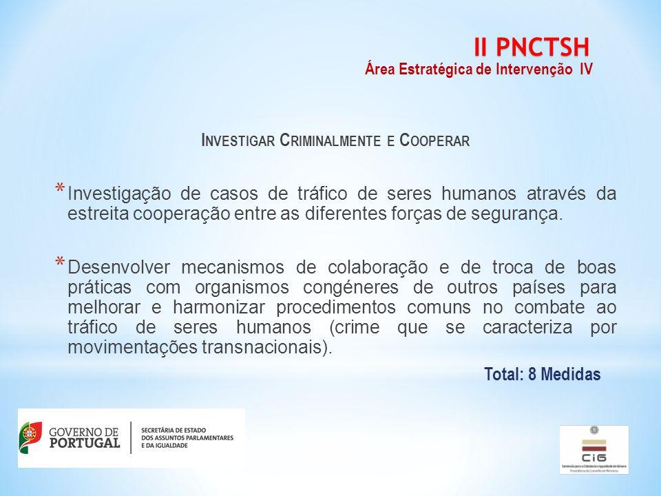 I NVESTIGAR C RIMINALMENTE E C OOPERAR * Investigação de casos de tráfico de seres humanos através da estreita cooperação entre as diferentes forças de segurança.