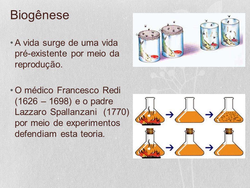 Biogênese A vida surge de uma vida pré-existente por meio da reprodução. O médico Francesco Redi (1626 – 1698) e o padre Lazzaro Spallanzani (1770) po