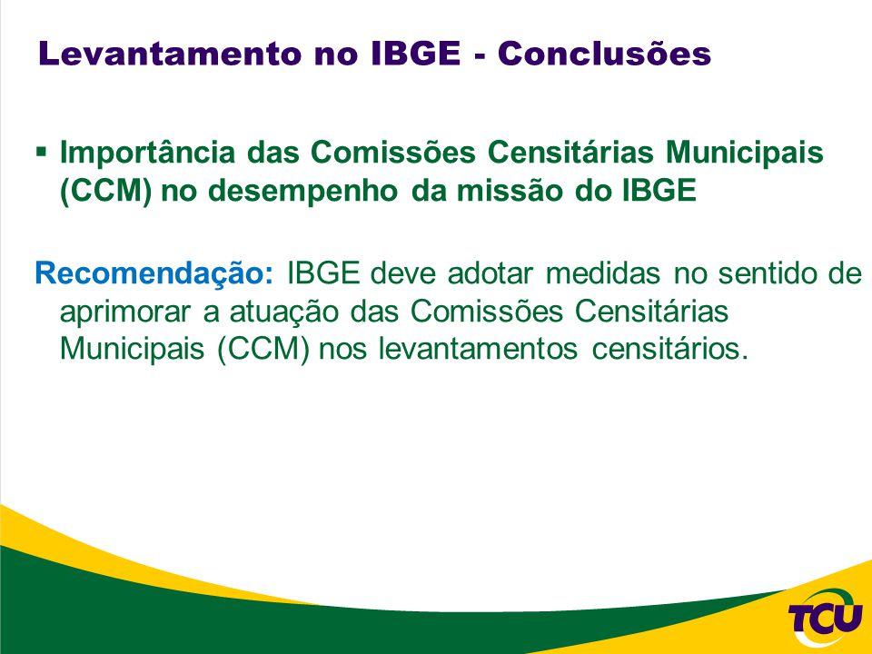 Importância das Comissões Censitárias Municipais (CCM) no desempenho da missão do IBGE Recomendação: IBGE deve adotar medidas no sentido de aprimorar a atuação das Comissões Censitárias Municipais (CCM) nos levantamentos censitários.