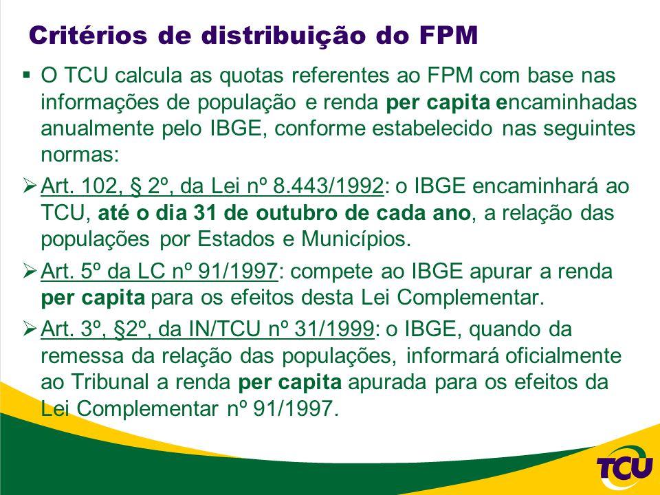 Considerações Finais Necessidade de rediscussão dos critérios de distribuição do FPM Fortalecer o caráter distributivo do FPM Critério e periodicidade dos dados utilizados no cálculo compatíveis com a qualidade das informações disponíveis