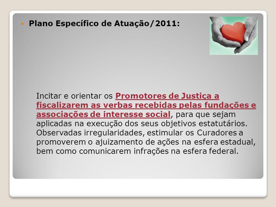 Plano Específico de Atuação/2011: Incitar e orientar os Promotores de Justiça a fiscalizarem as verbas recebidas pelas fundações e associações de interesse social, para que sejam aplicadas na execução dos seus objetivos estatutários.