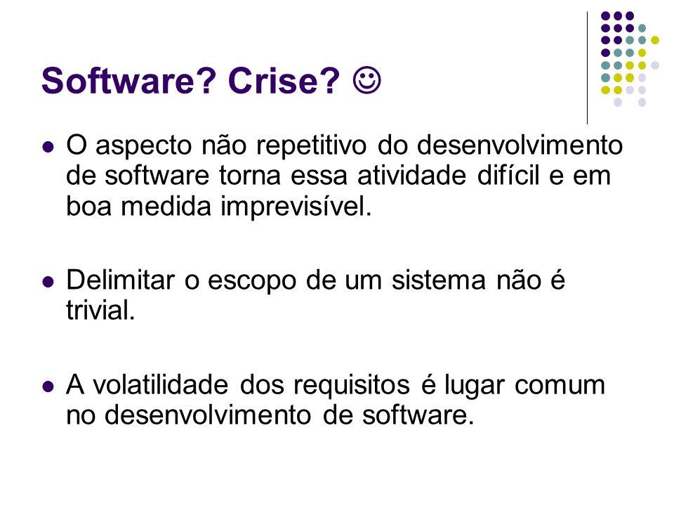 Software? Crise? O aspecto não repetitivo do desenvolvimento de software torna essa atividade difícil e em boa medida imprevisível. Delimitar o escopo