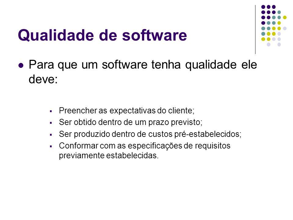 Qualidade de software Para que um software tenha qualidade ele deve: Preencher as expectativas do cliente; Ser obtido dentro de um prazo previsto; Ser