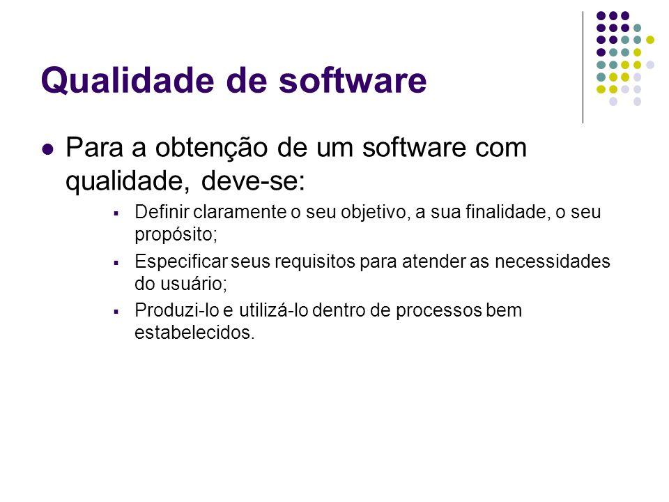 Qualidade de software Para a obtenção de um software com qualidade, deve-se: Definir claramente o seu objetivo, a sua finalidade, o seu propósito; Esp