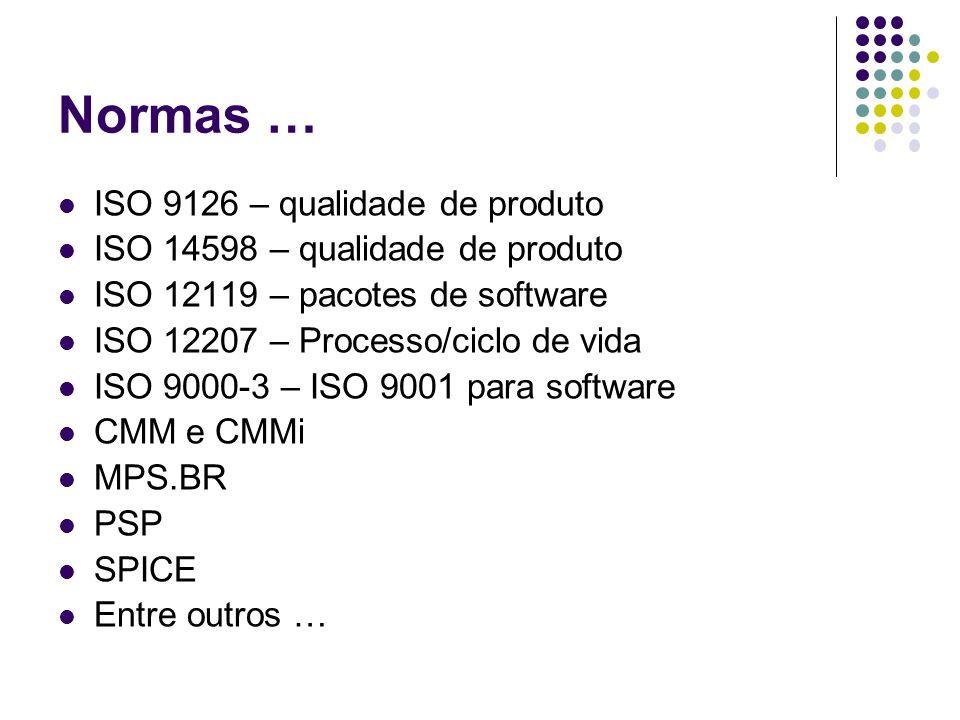 Normas … ISO 9126 – qualidade de produto ISO 14598 – qualidade de produto ISO 12119 – pacotes de software ISO 12207 – Processo/ciclo de vida ISO 9000-