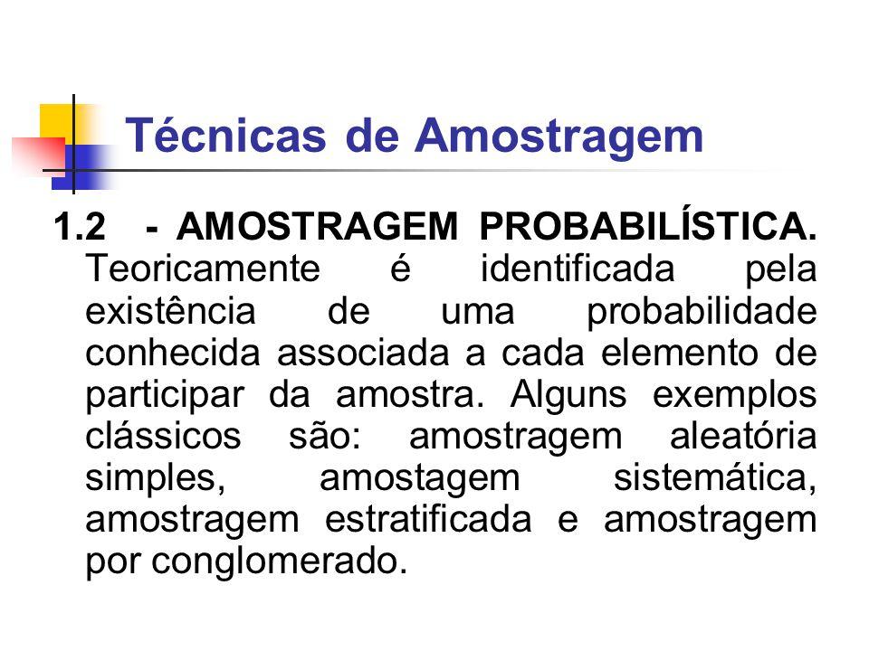 Técnicas de Amostragem 1.1 - AMOSTRAGEM POR CONVENIÊNCIA (NÃO PROBABILÍSTICA): a amostra é formada obedecendo a algum tipo de conveniência de quem forma a amostra ou de quem vai participar da amostra ou de ambos.