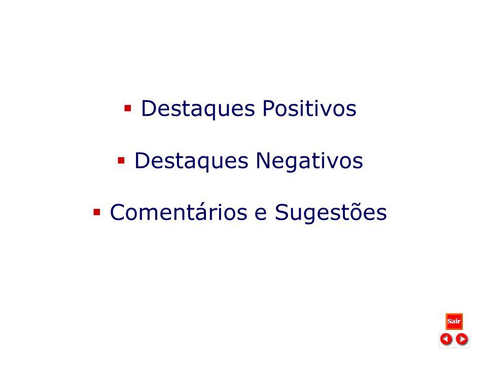 DESTAQUES POSITIVOS Destaques Positivos Destaques Negativos Comentários e Sugestões Sair