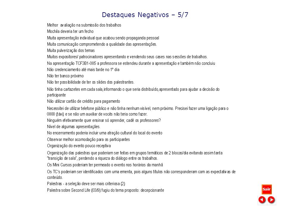 Destaques Negativos – 5/7 Sair
