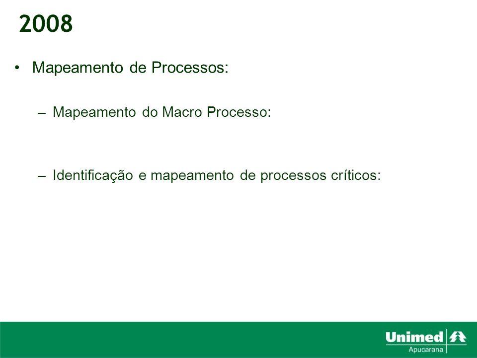 Mapeamento de Processos: –Mapeamento do Macro Processo: –Identificação e mapeamento de processos críticos: 2008