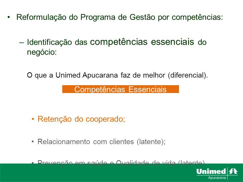 Reformulação do Programa de Gestão por competências: –Identificação das competências essenciais do negócio: O que a Unimed Apucarana faz de melhor (di