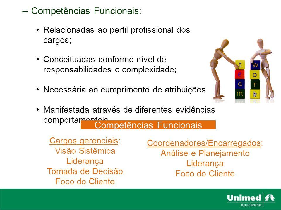 –Competências Funcionais: Relacionadas ao perfil profissional dos cargos; Conceituadas conforme nível de responsabilidades e complexidade; Necessária