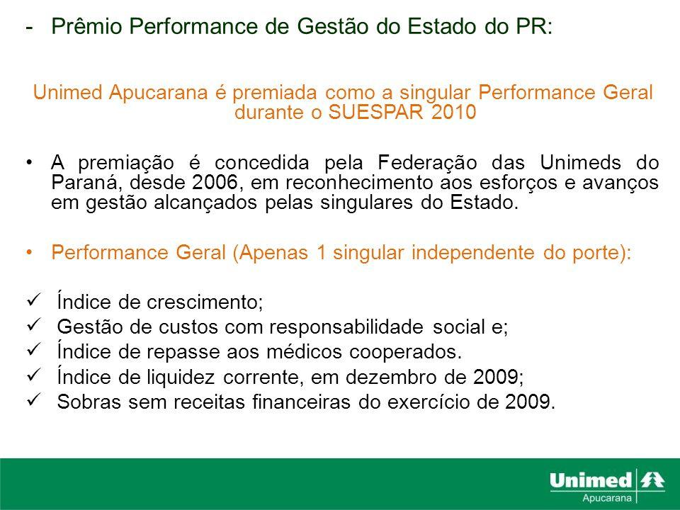 -Prêmio Performance de Gestão do Estado do PR: Unimed Apucarana é premiada como a singular Performance Geral durante o SUESPAR 2010 A premiação é conc