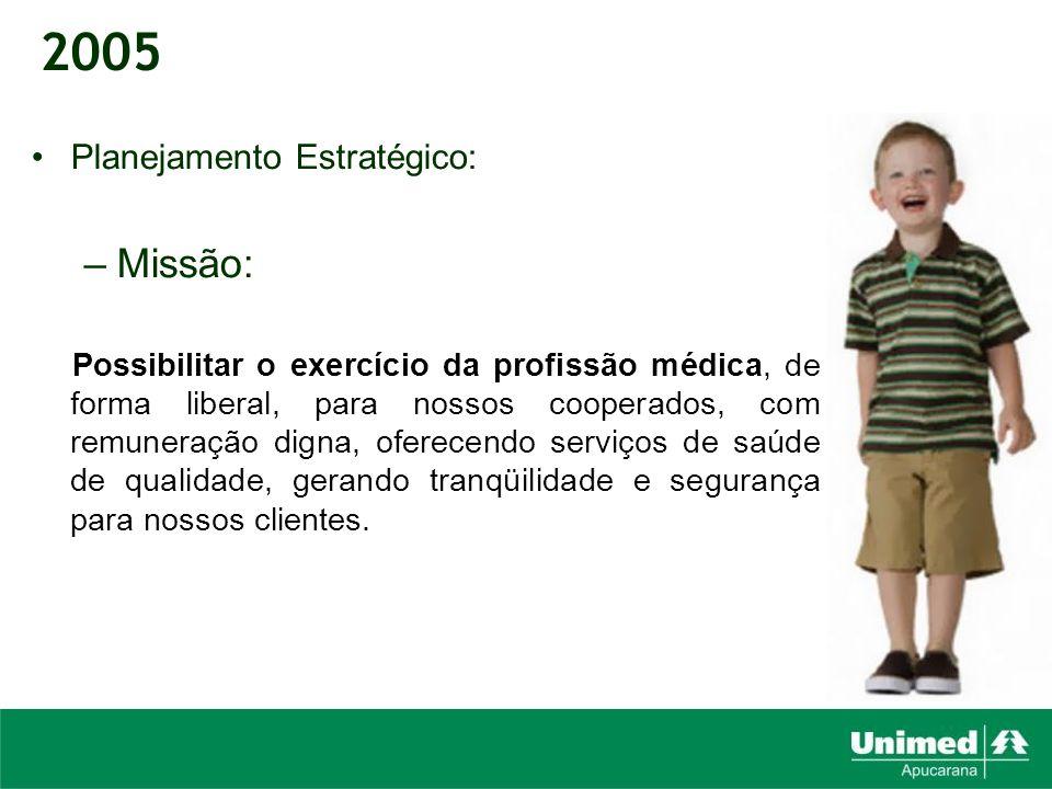 Planejamento Estratégico: –Missão: Possibilitar o exercício da profissão médica, de forma liberal, para nossos cooperados, com remuneração digna, ofer