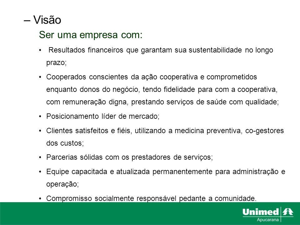 –Visão Ser uma empresa com: Resultados financeiros que garantam sua sustentabilidade no longo prazo; Cooperados conscientes da ação cooperativa e comp