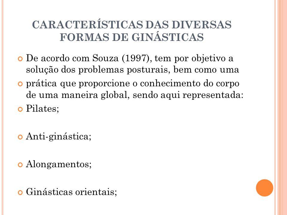 CARACTERÍSTICAS DAS DIVERSAS FORMAS DE GINÁSTICAS De acordo com Souza (1997), tem por objetivo a solução dos problemas posturais, bem como uma prática