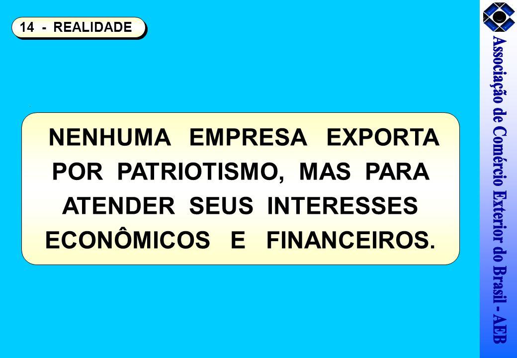 NENHUMA EMPRESA EXPORTA POR PATRIOTISMO, MAS PARA ATENDER SEUS INTERESSES ECONÔMICOS E FINANCEIROS. 14 - REALIDADE