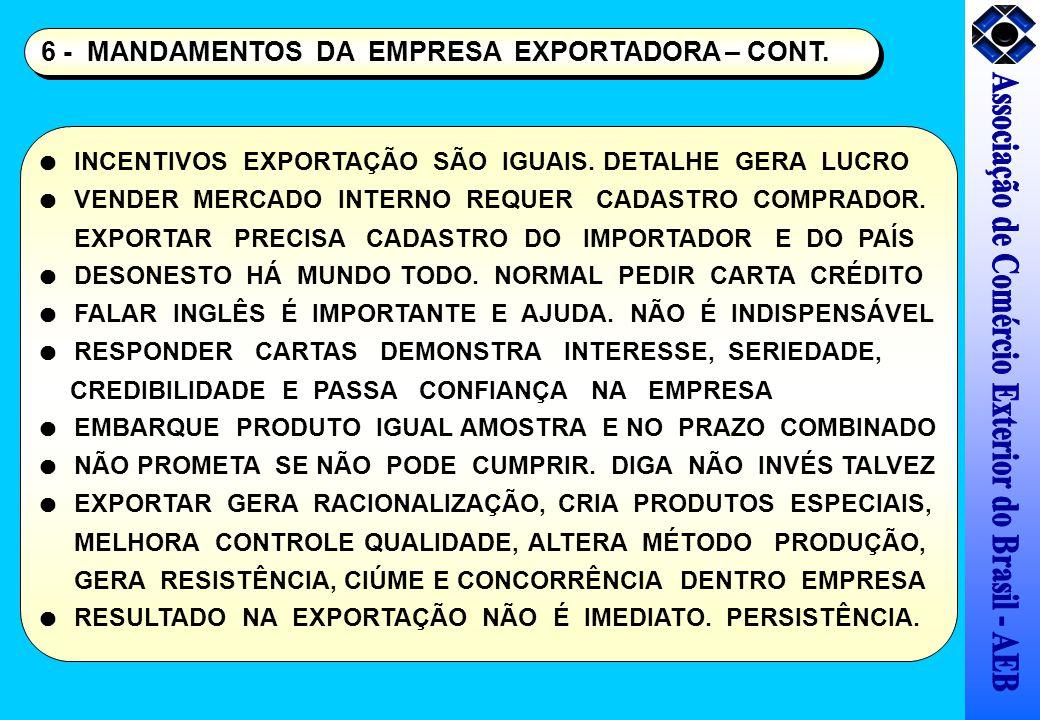 6 - MANDAMENTOS DA EMPRESA EXPORTADORA – CONT. INCENTIVOS EXPORTAÇÃO SÃO IGUAIS. DETALHE GERA LUCRO VENDER MERCADO INTERNO REQUER CADASTRO COMPRADOR.